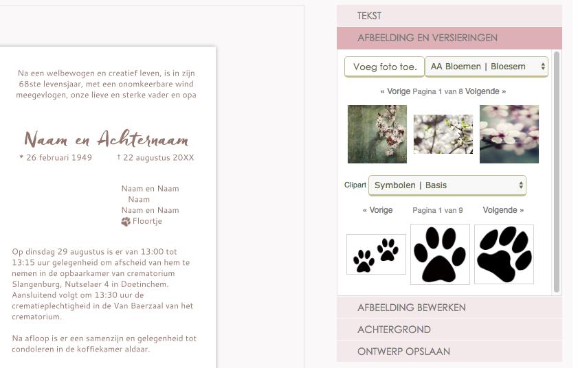 Pootafdrukje voor huisdier in rouwkaart